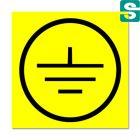 Naklejki uziemienie z folii samoprzylepnej żółtej 10 x 10 mm. 204 szt.