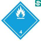 Naklejki ADR Klasa 4.3  Materiały wytwarzające w zetknięciu z wodą gazy zapalne 100 x 100 mm.