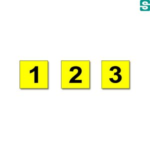 Naklejki z folii samoprzylepnej żółtej z cyframi
