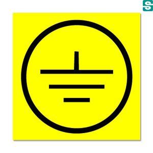 Nalepki uziemienie z folii samoprzylepnej żółtej 15 szt. 35 x 35 mm