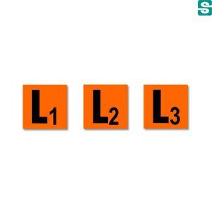 Naklejki L1L2L3 z folii samoprzylepnej pomarańczowej 15 szt. 30 x 30 mm