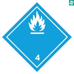 Naklejki ADR Klasa 4.3  Materiały wytwarzające w zetknięciu z wodą gazy zapalne 250 x 250 mm.