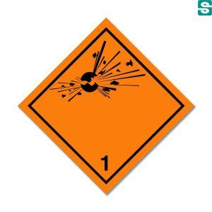 Naklejki ADR Klasa 1 Materiały i przedmioty, które stwarzają zagrożenie wybuchem 250 x 250 mm