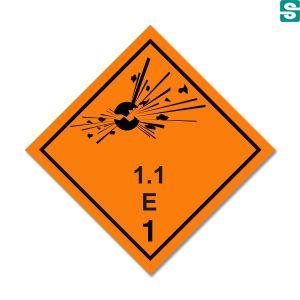 Naklejki ADR Podklasa 1.1  E  Materiały i przedmioty, które stwarzają zagrożenie wybuchem masowym 100 x 100 mm.