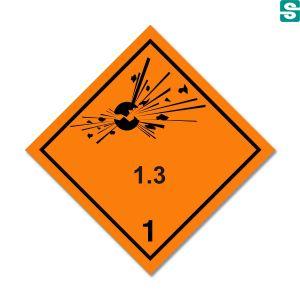 Naklejki ADR Podklasa 1.3  Materiały i przedmioty stwarzające zagrożenie pożarem i małe zagrożenie wybuchem lub rozrzutem lub oba te zagrożenia, ale które nie stwarzają zagrożenia wybuchem masowym 250 x 250 mm.