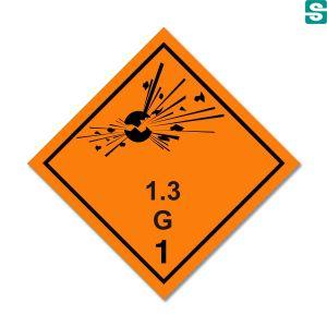 Naklejki ADR Podklasa 1.3 G  Materiały i przedmioty stwarzające zagrożenie pożarem i małe zagrożenie wybuchem lub rozrzutem lub oba te zagrożenia, ale które nie stwarzają zagrożenia wybuchem masowym 100 x 100 mm.