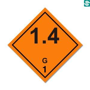 Naklejki ADR Podklasa 1.4 G  Materiały i przedmioty, które stwarzają tylko małe zagrożenie wybuchem w przypadku ich zapalenia lub zainicjowania podczas przewozu 100 x 100 mm.