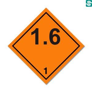 Naklejki ADR Podklasa 1.6 Przedmioty skrajnie niewrażliwe, które nie stwarzają zagrożenia wybuchem masowym 100 x 100 mm.