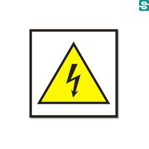 Ostrzeżenie przed porażeniem prądem elektrycznym, nalepki 52 x 52 mm, błyszczące
