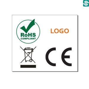 Nalepki RoHS CE Kosz i logo firmy