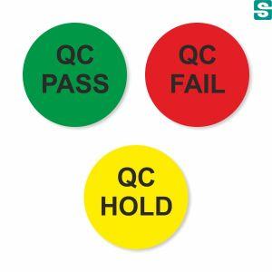 Naklejki QC Pass Fail Hold fi 10 mm drugiej jakości