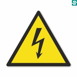 Ostrzeżenie przed porażeniem prądem elektrycznym, nalepki trójkątne