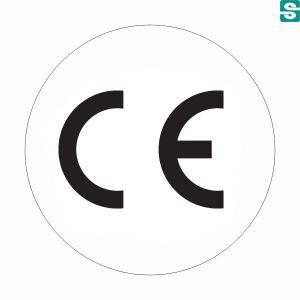 Nalepki CE z folii białej okrągłe