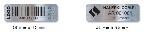 Plomby gwarancyjne, zaokrąglone rogi, 30 x 10 mm, VOID
