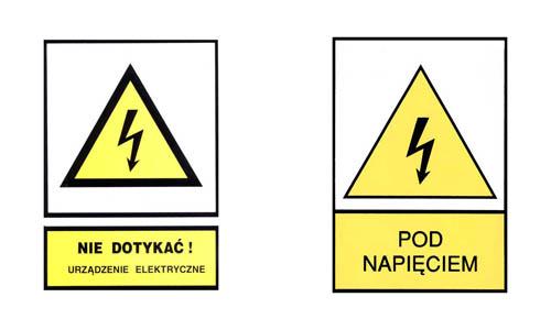 """Nalepki ostrzegawcze na urządzenia elektryczne: """"Nie dotykać!"""", """"Pod napięciem!""""."""