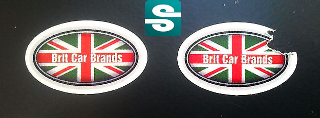 Stickery z folii gwarancyjnej kruszącej w kształcie elipsy